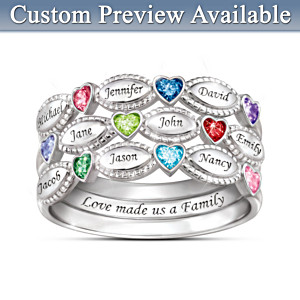 """My Family, My Love"" Name-Engraved Birthstone Ring Set"
