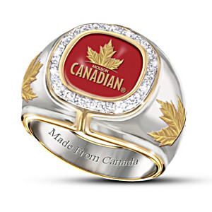 """Molson Canadian"" Men's 10-Diamond Ring With Maple Leaf Logo"