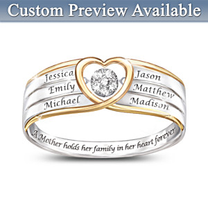 """""""In A Mother's Heart"""" Personalized Brilliant Motions Diamond Ring"""