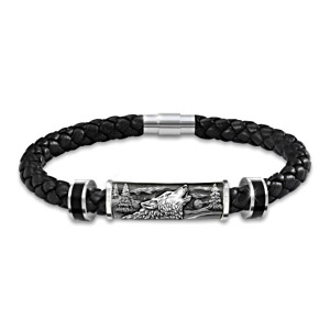 """Spirit Of The Wilderness"" Men's Bracelet With Wolf Art"