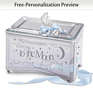 """Granddaughter, I Love You To The Moon"" Music Box With Name"