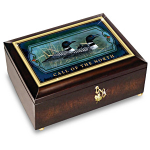 Cynthie Fisher Loon Art Music Box With Maple Leaf Charm