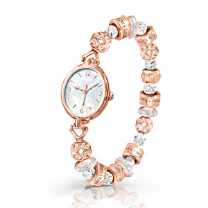 """Nature's Healing Moments"" Copper Stretch Watch With Beads"