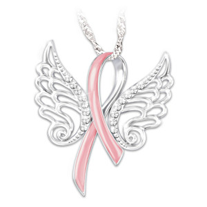 """""""Hope Soars"""" Breast Cancer Pink Ribbon Pendant Necklace"""