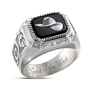 """""""Spirit Of The West"""" Men's Ring With Black Onyx Inlay"""