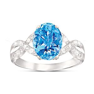"""Summer Breeze"" Swiss Blue Topaz & Diamond Ring"