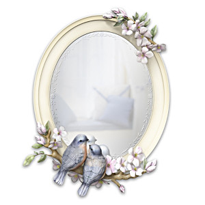 """""""Springtime Songbirds"""" Etched-Style Sculpted Mirror"""