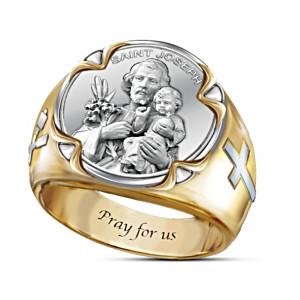 """Prayer To St. Joseph"" Men's Ring With Bilingual Prayer Card"