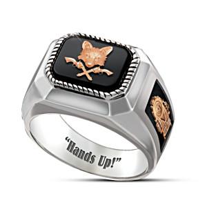 """Hands Up!"" Grey Fox Engraved Men's Ring"