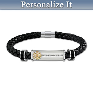 """Firefighter Brotherhood Of Honour"" Leather Initial Bracelet"