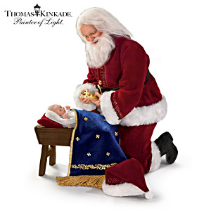 "Thomas Kinkade ""Glory To The Newborn King"" Santa Doll"