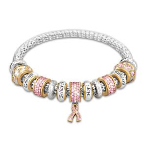 """Message Of Hope"" Breast Cancer Awareness Beaded Bracelet"