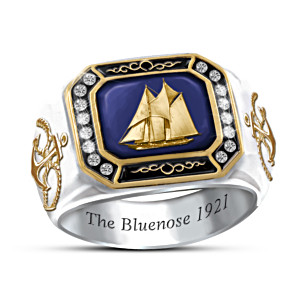 """The Bluenose"" Engraved Men's Ring With Swarovski Crystals"