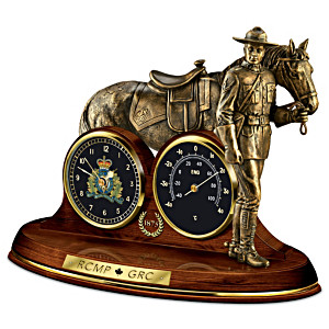 Mountie Cold-Cast Bronze Clock And Thermometer