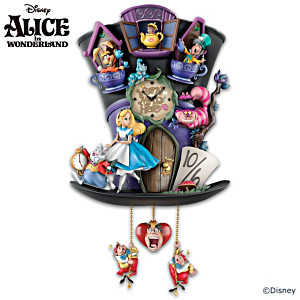 "Disney Alice In Wonderland ""Mad Hatter"" Cuckoo Clock"