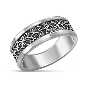 """""""The Spirit Of Canada"""" Stainless Steel Men's Maple Leaf Ring"""