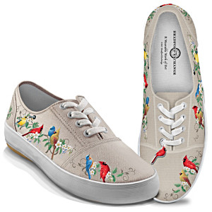 """""""Nature's Symphony"""" Canvas Sneakers With Songbird Art"""