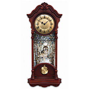 """Al Agnew Wolf Art """"Noble Spirits"""" Stained Glass Wall Clock"""