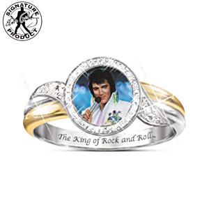 Embrace The King Engraved Elvis Ring With Swarovski Crystals