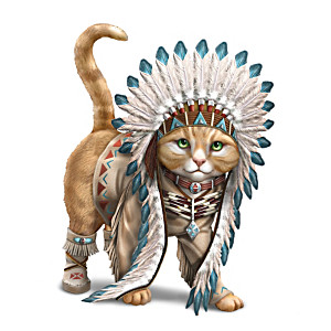 """Chief Runs With Paws"" Cat Figurine"