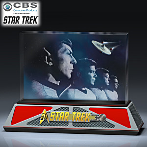 STAR TREK 50th Anniversary Laser-Etched Glass Sculpture