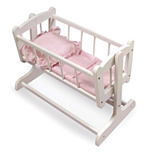 Rocking Doll Cradle With Pink Gingham Bedding