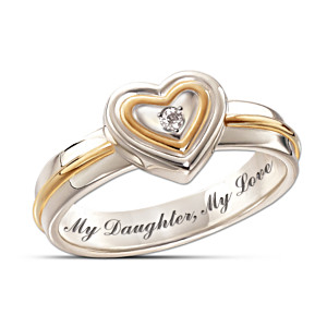 """My Daughter, My Love"" Inscribed Diamond Ring"