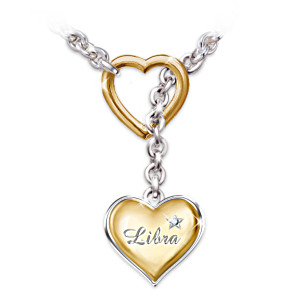Zodiac Sign Diamond Heart Pendant Necklace