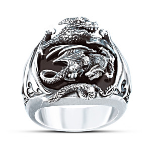 Sculpted Silver Dragon Black Onyx Men's Ring