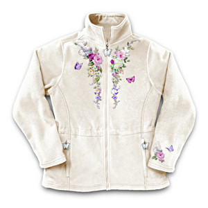 Lena Liu Garden Art Embroidered Fleece Jacket