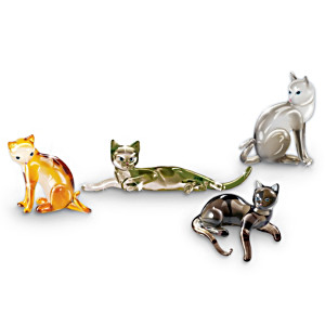 """Cat-itudes"" Jewel-toned Glass Cat Figurine Collection"