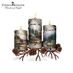 Thomas Kinkade Wilderness Candleholders With FREE Tealights