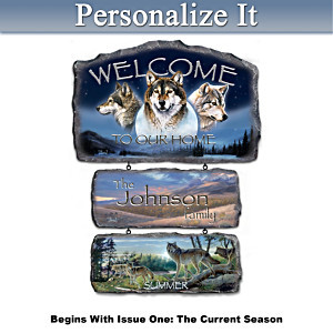 Al Agnew Seasonal Wolf Art Plaques With Welcome Display