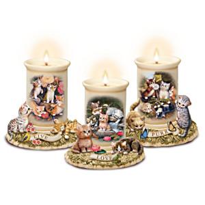 Jürgen Scholz Cat Art Porcelain Candleholders