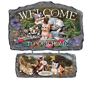 Jürgen Scholz Seasonal Kitten Art Welcome Signs