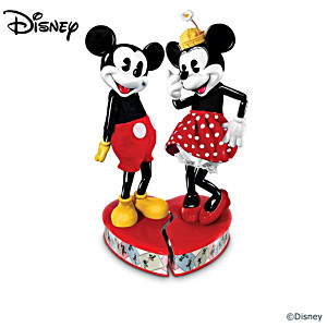 Poseable Mickey & Minnie Dolls With Heart-Shaped Stand