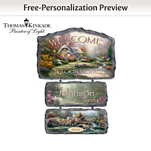 "Thomas Kinkade Interchangeable Seasonal Art ""Welcome"" Sign"