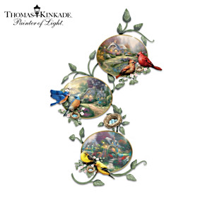 Thomas Kinkade Plate Collection With Songbird Display