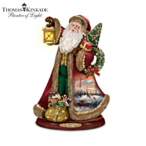 Thomas Kinkade Carolling Santa Figurine Collection