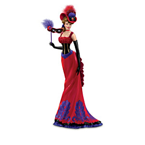 Mardi Gras Woman Figurine Collection With Real Feathers