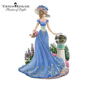 Victorian Lady Figurines With Thom's Garden Art Globes