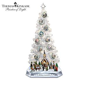 Thomas Kinkade Lighted Musical Sculptures And Christmas Tree