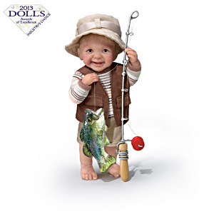"Fisherman ""Reel Cute"" Toddler Boy Dolls By Cheryl Hill"