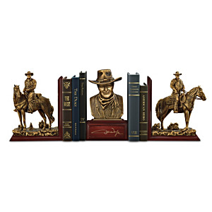 """John Wayne: American Hero Cold-Cast Bronze Legacy Bookends"""