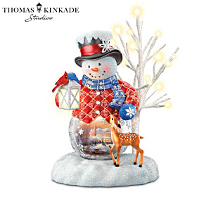 Thomas Kinkade Lighted Musical Snowman Figurine Collection