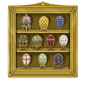 Ultimate Peter Carl Faberge Egg Figurines With Curio Display